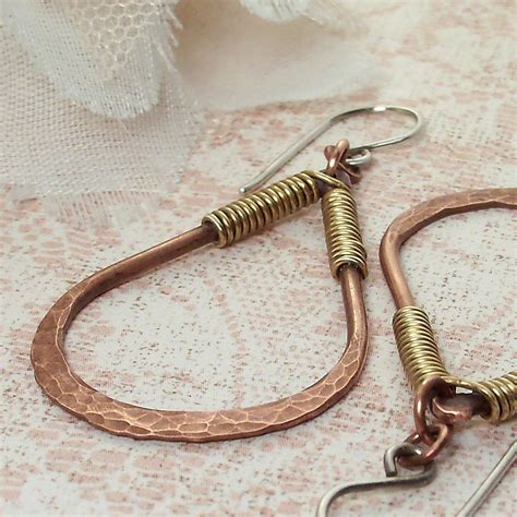 Handmade Wire Wrapped Jewelry - wire wrapped jewelry handmade earrings copper and brass