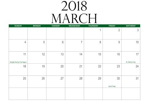 printable calendar march 2018 blank march 2018 calendar printable free download