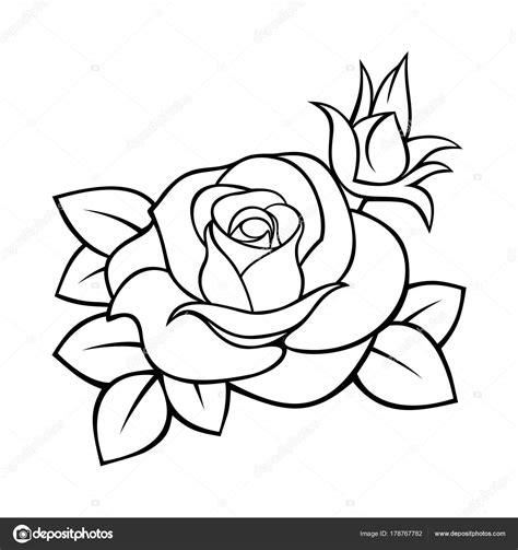 bloemen zwart wit tekening contour van vector zwart wit tekening van een roos