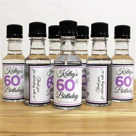 Birthday Giveaways For Adults - custom mini bottle labels birthday favors adult women 21 30 40 50 60th birthday