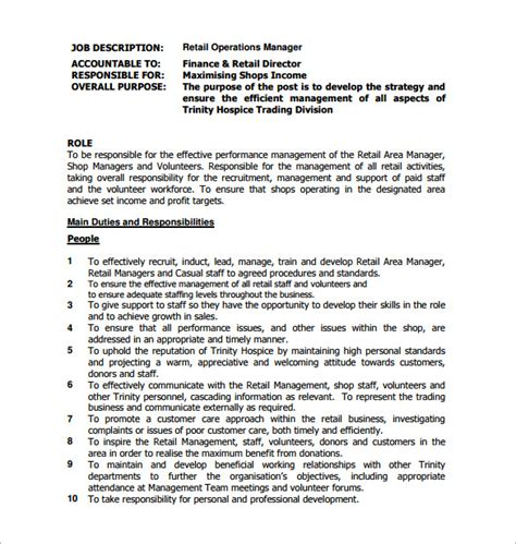 operations manager description template 9 free word pdf format free