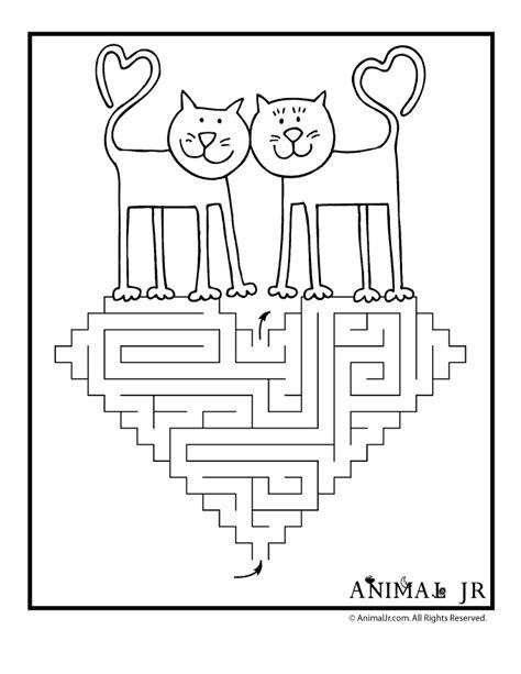 printable valentine s maze love cats printable valentine maze animal jr