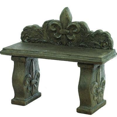 concrete benches home depot athens stonecasting fleur de leis bench 01 014713gr the