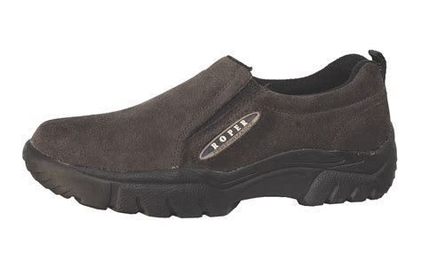 roper mens performance sport slip on brown suede leather