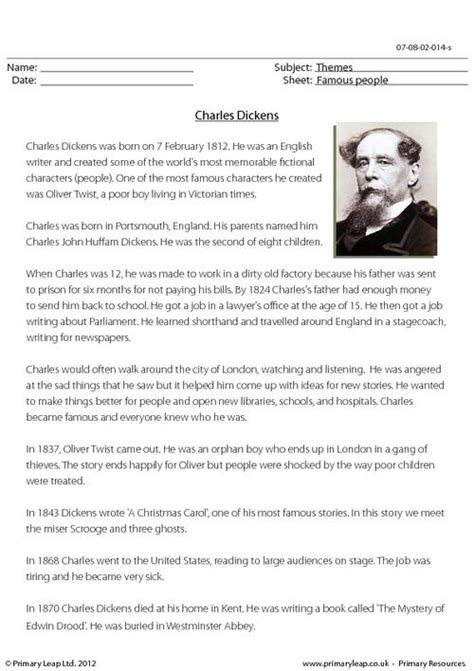 charles dickens biography video worksheet reading comprehension charles dickens primaryleap co uk