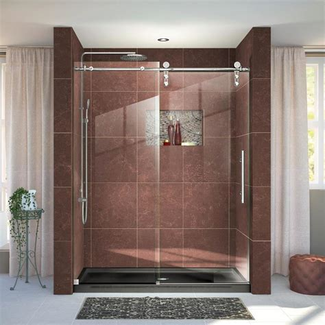 Hyline Shower Doors Shop Dreamline Enigma Z 56 In To 60 In W Frameless Polished Stainless Steel Sliding Shower Door