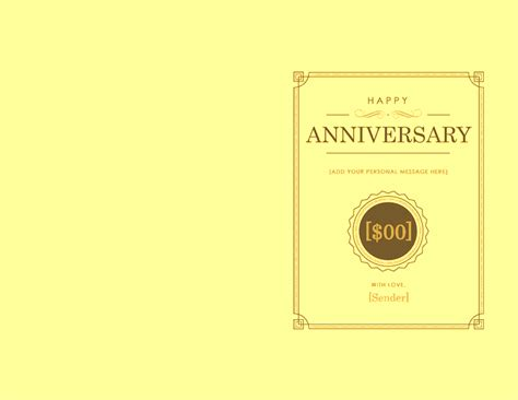 anniversary gift card templates for microsoft word anniversary gift certificate template note card template