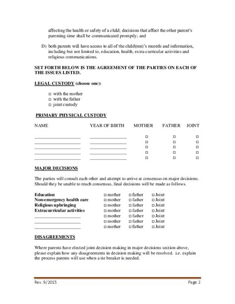 Sle Petition Divorce By Consent Consent Parenting Plan Form Free
