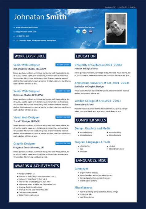 impressive resume format 40 great html cv resume templates template idesignow