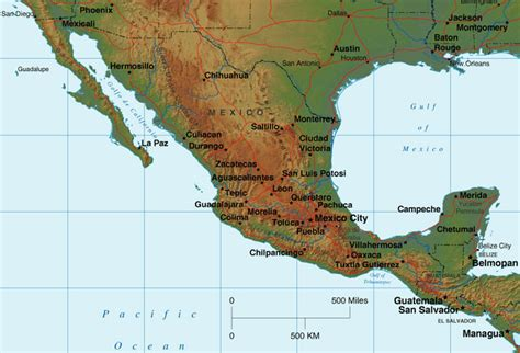 mexico physical map mexico map