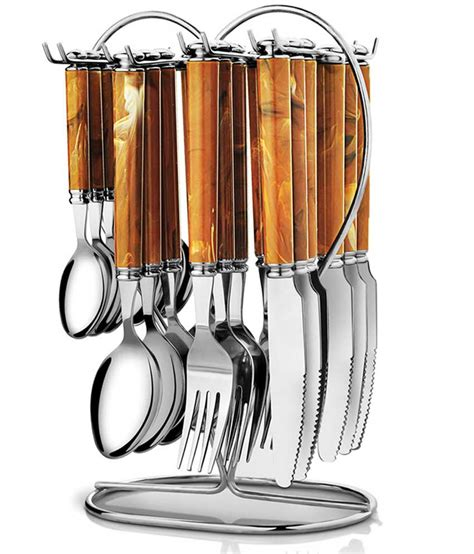 cutlery set with stand pogo galaxy brown stainless steel cutlery set with stand 25 pcs buy online at best price in