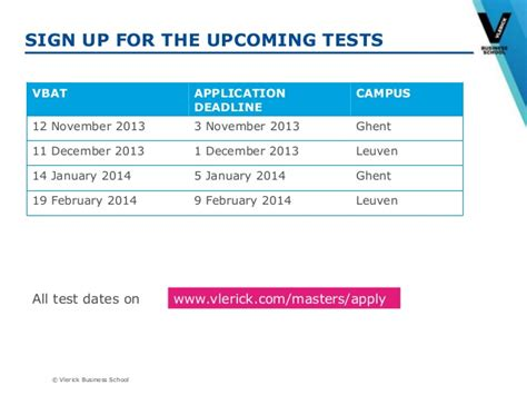 Vlerick Mba Application Deadlines by Presentation Infosession Masters