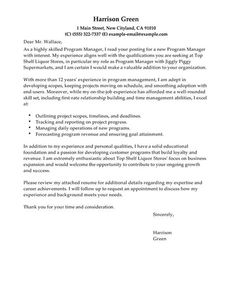 best cover letter for management position best management cover letter exles livecareer