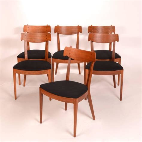 Drexel Dining Room Furniture Set Of Six Kipp Stewart For Drexel Walnut Declaration Dining Chairs For Sale At 1stdibs