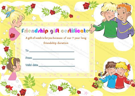 best friend certificate templates best friend gift certificate template