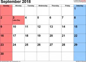 September 2018 Calendar With Holidays September 2018 Calendars For Word Excel Pdf