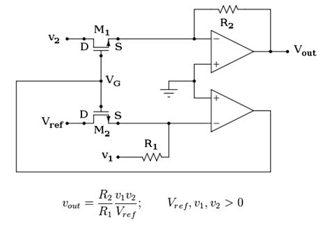 analog multiplier linear integrated circuits analog multiplier with mosfet implementation not working electrical engineering stack exchange