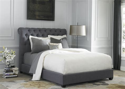 dark gray upholstered king sleigh bed 250 br22hu 150