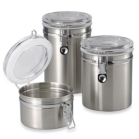 stainless steel canisters kitchen oggi brushed stainless steel canister bed bath beyond