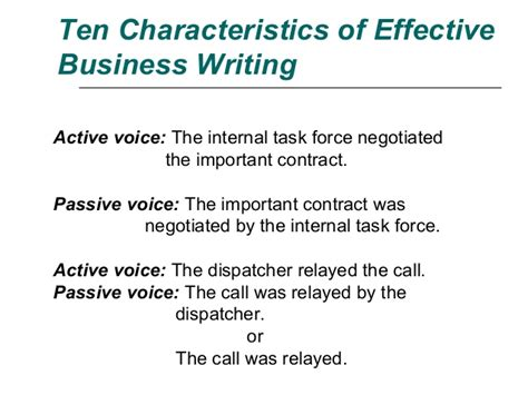 Business Letter Written In Passive Voice ten characteristics of effective business writing