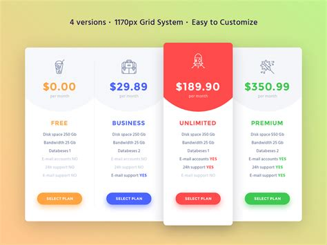 product pricing plan uplabs 4 pricing tables uplabs