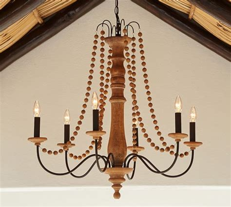 barn wood chandelier turned wood indoor outdoor chandelier pottery barn