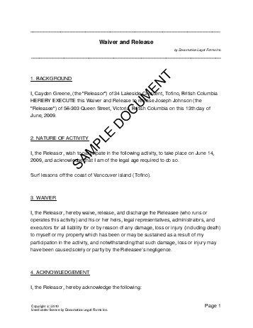 Waiver And Release Canada Legal Templates Agreements Contracts And Forms Waiver Form Template