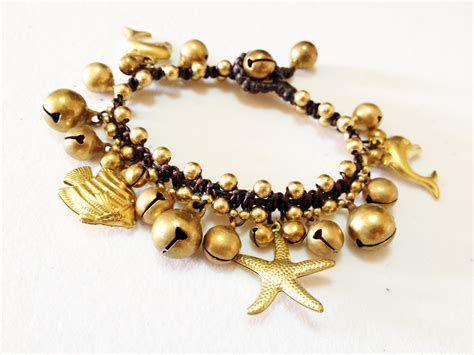 brass charms bracelet sea handmade inspired