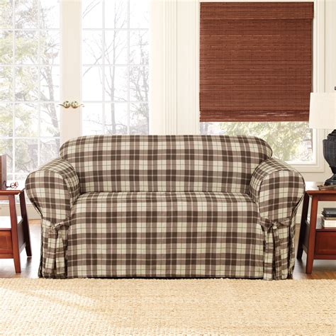 Plaid Sofa Slipcovers by Sure Fit Soft Suede Plaid Sofa Slipcover At Hayneedle