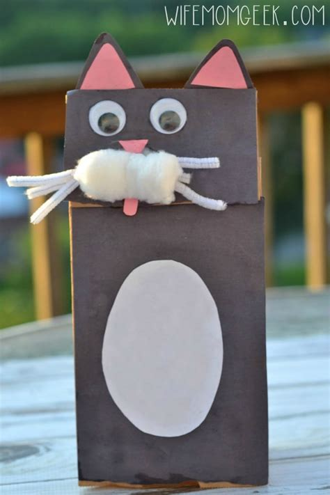 Paper Bag Cat Craft - cat paper bag puppet kid craft