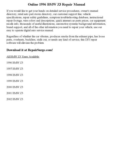 1996 bmw z3 repair manual online by robertmoutal - Issuu