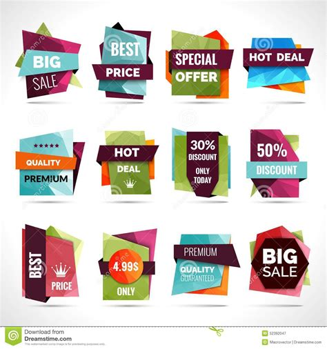 Origami For Sale - origami sale labels stock vector image 52392047