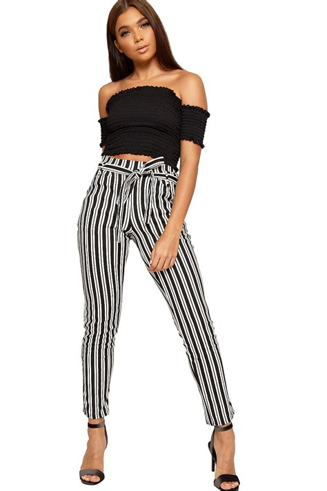 Striped Trousers womens monochrome striped belted pocket crepe