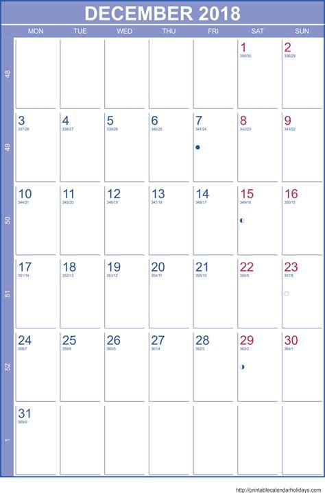 Calendar Template December 2017 January 2018 December Calendar 2018 Template Portrait Printable