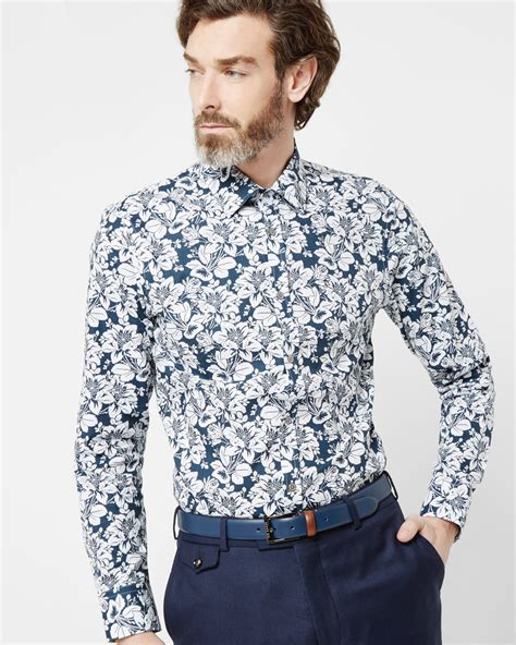 Ted Baker Ted Guys Ite1119 ted baker floral print cotton shirt in blue for lyst