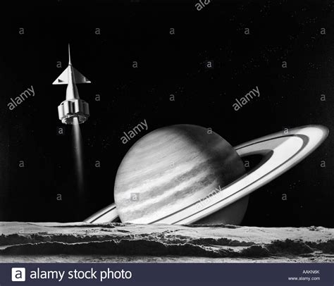 planet saturn surface 1960s space rocket flying past saturn with surface of