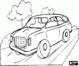 car traveling road coloring printable game