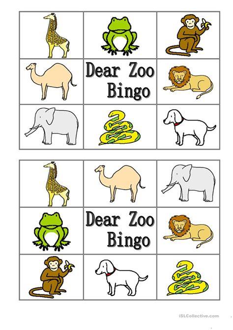 dear zoo animal bingo worksheet free esl printable