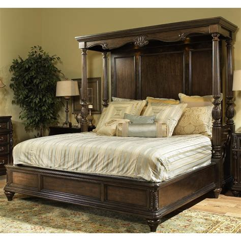 California King Canopy Bedroom Set by Chateau Marmont Pecan Brown Cal King Canopy Bed
