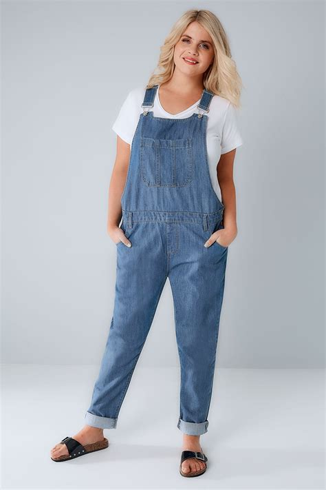Idw079 Blue Size 16 5 mid blue denim dungarees with front pocket plus size 16 to 28