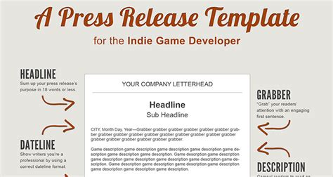 A Press Release Template Perfect For The Indie Game Developer Press Release Template
