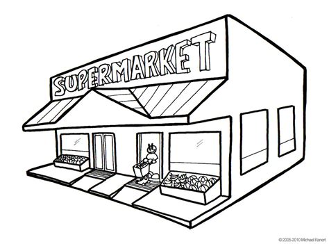 preschool coloring pages grocery store supermarket スーパー mike kanert flickr