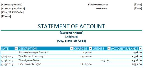 Statement Of Account Template Statement Of Account Template