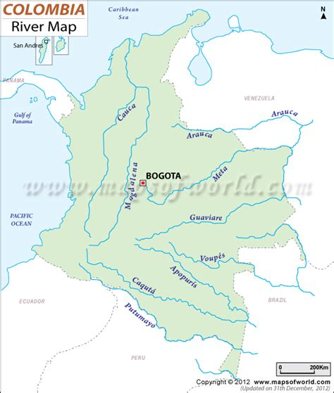 world map that shows rivers colombia river map