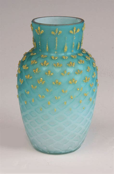 blue quilt satin glass vase for sale antiques