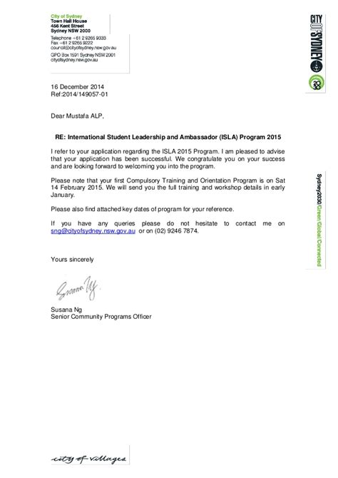 Successful Letter mustafa isla 2015 successful applicant notification