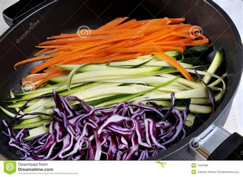 Nstrip Vegethablerovs vegetable strips in fry pan royalty free stock images image 7426489