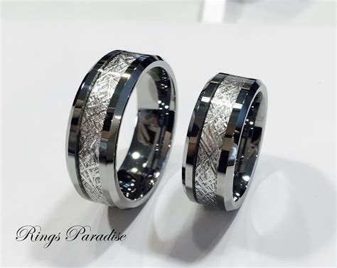 s tungsten wedding band meteorite inlay ring by