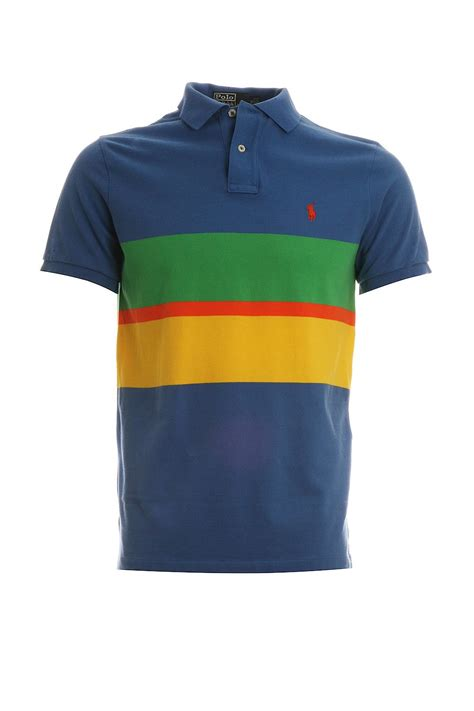 Tshirt Polo ralph polo t shirt in blue striped a12ksmm2c0005 polo ralph from clothing uk