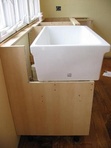 how to build a base for an apron front sink farmhouse sink installation with ikea cabinet tutorial